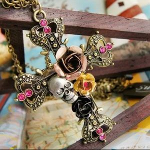 Steam punk skull cross sweater necklace